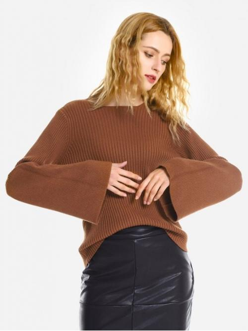 ZAN.STYLE Belled Sleeve Pullover Sweater