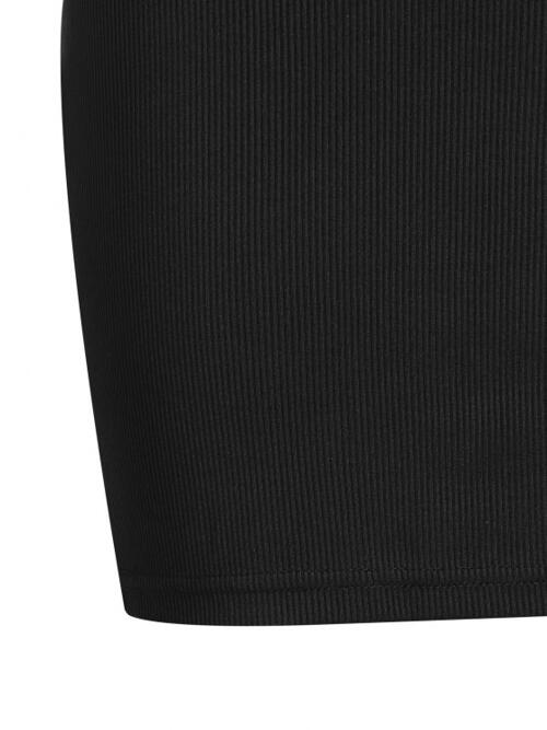 Trending now Black Solid Color Skinny Sleeveless Ribbed Cutout Dress