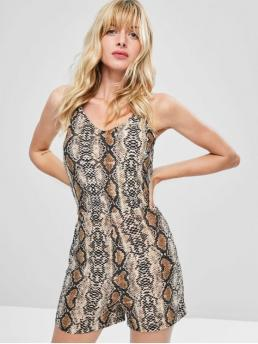 Spring and Summer No Print Sleeveless Spaghetti Regular Fashion Daily Lace Up Snake Skin Romper