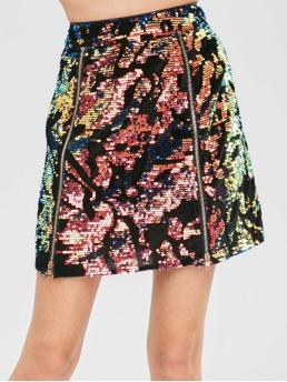 No Fall and Spring and Winter Zipper Sequined Others A-Line Mini Daily Fashion Sequined Velvet Zip Skirt