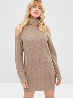 No Fall and Spring and Winter Micro-elastic Solid Long Turtlecollar Mini Jumper Straight Casual  Fashion Turtleneck Cold Shoulder Jumper Dress