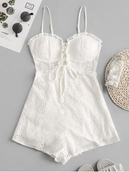 Summer No Lace Solid Sleeveless Spaghetti Regular Fashion Daily Lace-up Broderie Anglaise Cami Romper