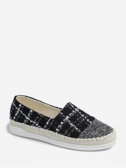 Spring/Fall Plaid Daily Casual Cloth and Synthetic Rubber Slip-On Round Closed 3CM For Slip-On Slip On Tweed Espadrille Casual Shoes
