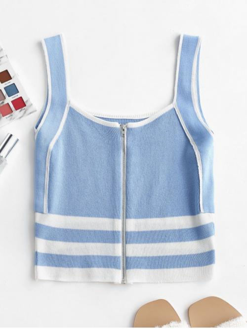 Summer Elastic Standard Zippers Striped Square Short Fashion Zip Up Striped Square Neck Knitted Tank Top
