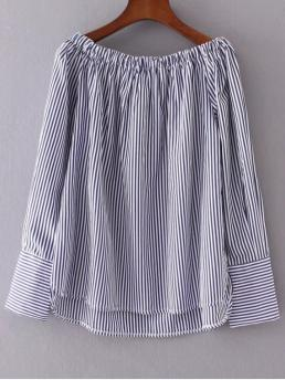 Fall Striped Off Full Regular Casual Off The Shoulder Stripes Peasant Blouse