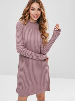 Fall and Spring No Solid Long Mock Mini Casual  and Going High Neck Plain Sweater Dress
