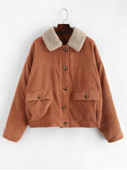 No Winter Pockets Solid Single Turn-down Drop Full Regular Wide-waisted Casual Jackets Daily Corduroy Drop Shoulder Pocket Jacket