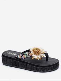 Summer Synthetic TPR Floral Slip-On Wedge Slides Daily Fashion For Sunflower Diamond Design Flip Flops