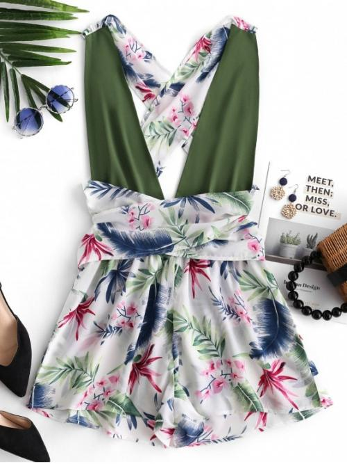 Spring and Summer No Plant Sleeveless Plunging Regular Fashion Casual Leaf Plunging Back Criss Cross Romper