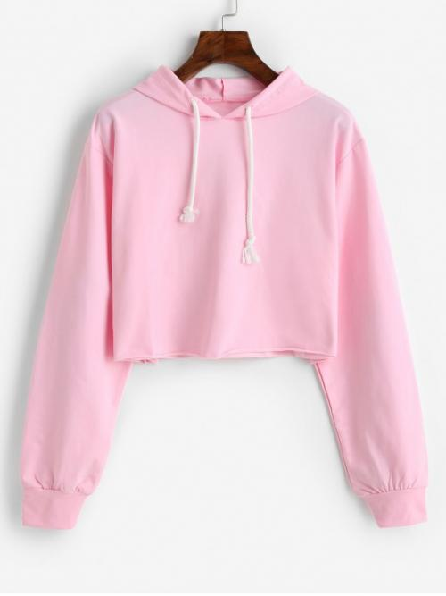 Autumn Letter and Lips Full Short Sweatshirt Letter Lip Graphic Rolled Hem Crop Hoodie