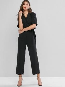 Fall and Spring No Tie Solid Nonelastic Short Lapel Normal Regular Fashion Daily and Going Lapel Tie Waist Work Wide Leg Jumpsuit