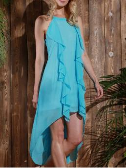 No Fall and Winter Solid Ruffles Sleeveless Round Ankle-Length Asymmetrical Beach and Vacation Fashion Sleeveless High Low Chiffon Flowy Dress