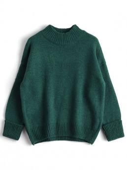 Others Full High Fashion Pullovers Loose Heathered Mock Neck Sweater