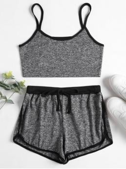 Summer Others Pleated Elastic Mid Sleeveless Spaghetti Skinny Active Beach Marl Cami Top Dolphin Shorts Two Piece Set