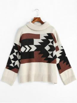 Geometric Nonelastic Full Turtlecollar Regular Loose Casual Pullovers Geometric Graphic Turtleneck Sweater