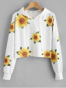 Autumn and Spring Floral Elastic Full Short Hooded Hoodie Sunflower Print Graphic Hoodie
