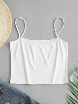 Summer Elastic Standard Solid Spaghetti Short Sexy Ribbed Cami Top