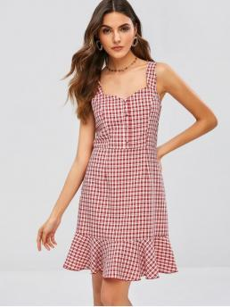 No Summer Gingham Flounce Sleeveless Sweetheart Mini Trumpet/Mermaid Casual and Day and Vacation Fashion Gingham Sweetheart Neck Flounce Dress