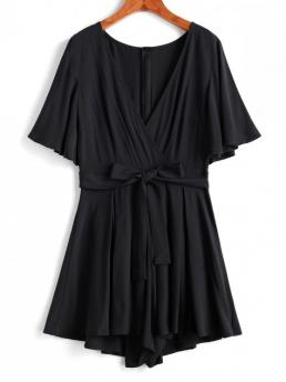 Summer No Solid Short V-Collar Mini Loose Casual Daily Bell Sleeve Belted Surplice Flare Romper