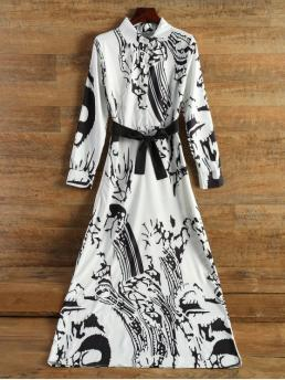 Fall and Spring No Print Long Shirt Floor-Length Work A Chinese Painting Chiffon Maxi Dress