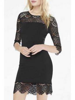 Spring and Fall No Solid 3/4 Round Sheath Mini Sexy 3/4 Sleeve See-Through Black Lace Dress