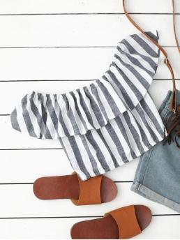 Striped Short Short Off Fashion Casual Off Shoulder Flounce Striped Crop Blouse
