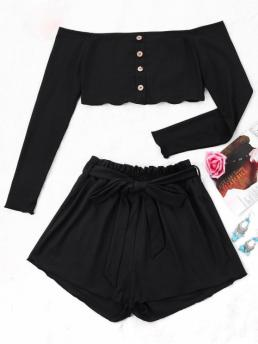 Button Solid Flat Elastic Mid Off Regular Casual and Going Ribbed Crop Top and Wide Leg Shorts