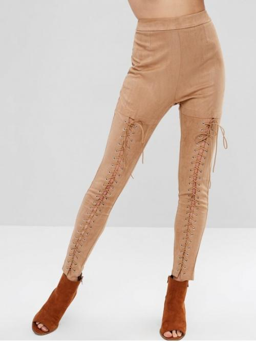 Fall and Summer No Zipper Pencil Solid Lace Flat Skinny High Fashion Lace Up Faux Suede Pants