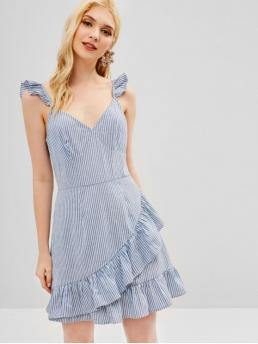 No Spring Striped Ruffles Sleeveless V-Collar Mini A-Line Casual  and Vacation Casual Ruffles Striped A Line Dress