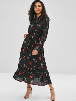 Yes Fall and Spring Heart Flounce Long Bowknot Mid-Calf A-Line Casual  and Day Fashion Bow Tie Chiffon Heart Print Belted Dress