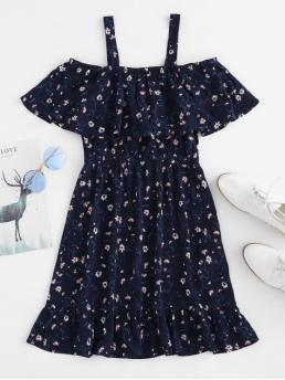 No Summer Floral Cut Short Square Mini A-Line Casual and Day and Vacation Cute Flounce Ditsy Print Cold Shoulder Dress