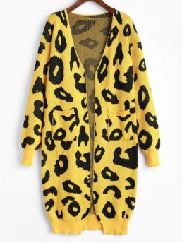 Autumn and Spring Pockets Leopard Nonelastic Full Drop Collarless Long Loose Casual Daily Cardigans Leopard Pocket Drop Shoulder Cardigan