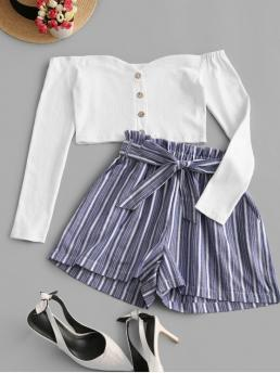Yes Fall Belted and Button Striped Flat Elastic High Long Off Loose Casual Casual and Going Buttons Striped Crop Belted Two Piece Suit