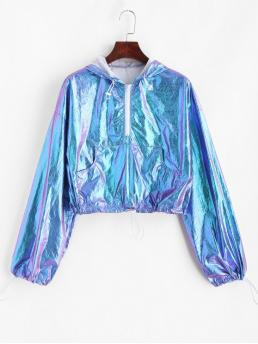 Autumn and Spring Front Others Nonelastic Full Short Drop Hooded Crop Half Zip Reflective Shiny Front Pocket Hoodie