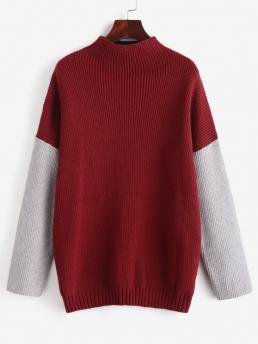 Full Sleeve Pullovers Polyamide,polyurethane,viscose Patchwork Mock Neck Color Block Sweater Discount