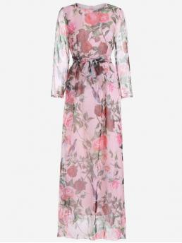 Fall and Spring Yes Floral Long Round Floor-Length Chiffon Floral Print Long Sleeve Belted Maxi Dress