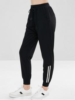 Fall and Spring No Drawstring Straight Striped Regular Mid Fashion Striped Panel Sporty Pants