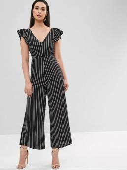 Fall and Spring and Summer No Striped Sleeveless V-Collar Straight Fashion Going Sleeveless Ruffles Striped Wide Leg Jumpsuit