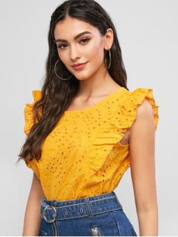 Summer Ruffles Solid Sleeveless Regular Round Fashion Daily and Outdoor Broderie Anglaise Ruffled Eyelet Casual Blouse