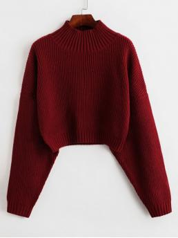 Autumn and Spring and Winter Solid Elastic Full Drop Mock Short Regular Fashion Daily and Going Pullovers Drop Shoulder Mock Neck Plain Sweater