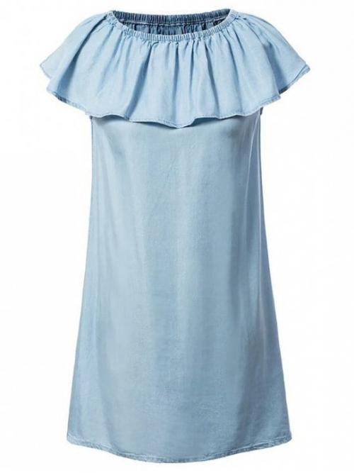 Fall and Spring and Summer No Solid Short Off Mini Casual and Night A Chambray Off The Shoulder Dress