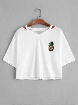 Summer Fruit Embroidery and Patch Full V-Collar Short Fashion Cutout Pineapple Sequins Patches Top