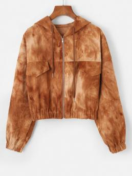 Full Sleeve Wide-waisted Polyester Tie Dye Flap Detail Corduroy Jacket on Sale