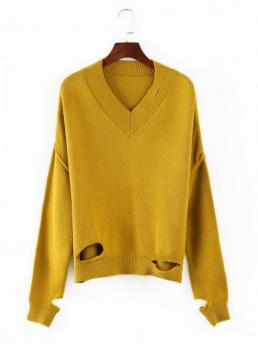 Autumn and Spring and Winter Hollow Solid Elastic Full V-Collar Regular Loose Fashion Daily Pullovers V Neck Cutout Sweater