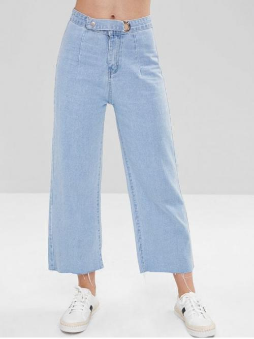 Fall and Summer Frayed and Pocket Zipper Loose Ninth Light Fashion Frayed Wide Leg Ninth Jeans