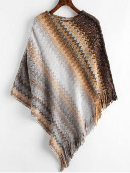 Autumn and Winter Fringed Micro-elastic Three Round Regular Asymmetrical Fashion Daily and Going Pullovers Fringed Geometric Poncho Sweater