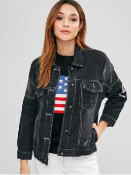 No Autumn Ripped Letter Single Turn-down Drop Full Regular Wide-waisted Streetwear Jackets Daily Letter Drop Shoulder Distressed Denim Jacket