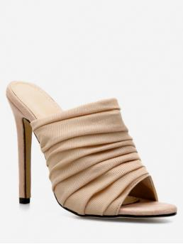 Summer Mesh 11CM Rubber Solid Slip-On Stiletto Slides Daily Fashion For Pleated Breathable Mesh Slides