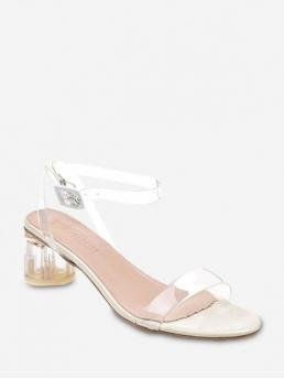 Summer PU and PVC 5CM Rubber Solid Buckle Chunky Ankle Daily and Office Fashion For Transparent Mid Block Heel Sandals