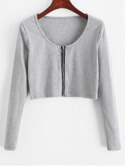 Autumn and Spring Others Zippers Elastic Full Scoop Crop Fashion Ribbed Zip Long Sleeve Crop Tee